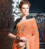 EXCELLENT ORANGE GREY AND BLUE GEORGETTE PARTY WEAR SAREE