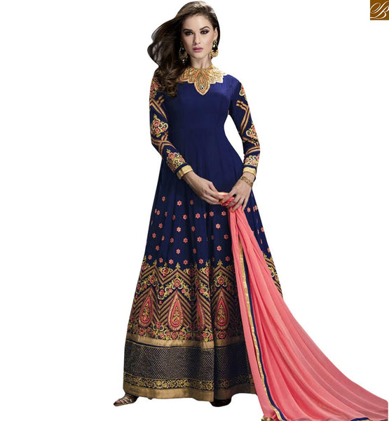 STYLISH BAZAAR AMAZING BLUE EMBROIDERED ANARKALI SUIT DESIGN GLZR1401