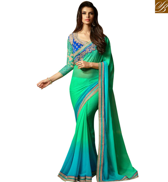 STYLISH BAZAAR ATTRACTIVE SKY BLUE AND SEA GREEN SHADED DESIGNER SAREE WITH LACE BORDER WORK AND EMBROIDERED BLOUSE SLTFH14010A