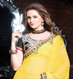 CLASSIC YELLOW AND GREY SPRAY CHIFFON PARTY WEAR SAREE