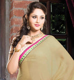 BEIGE AND PINK PARTY WEAR SAREE WITH BROCADE BLOUSE