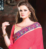 DUSTY PINK AND CREAM SPRAY CHIFFON PARTY WEAR SAREE