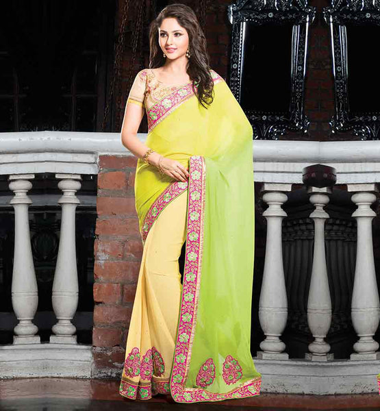 BEAUTIFUL PARTY WEAR CHIFFON SAREE WITH HEAVY EMBROIDERED BLOUSE