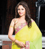 EYE-CATCHING SPRAY CHIFFON PARTY WEAR SAREE WITH DUPION BLOUSE