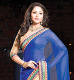 BLUE AND CREAM GEORGETTE AND COTTON PARTY WEAR SAREE