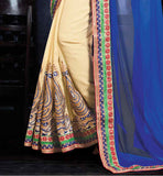 LATEST SAREE COLLECTION DESIGNER GOLD BLOUSE COOL COLOR COMBINATION