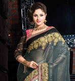 SUPERB GREY AND OFF WHITE SPECIAL OCCASION WEAR SAREE