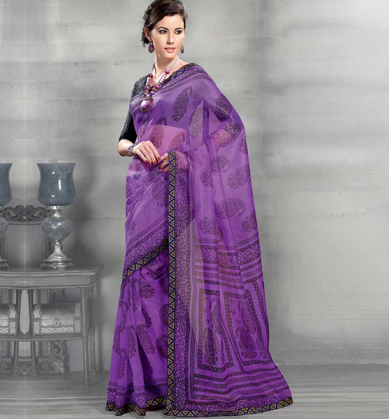 PURPLE SUPER NET CASUAL SARI RTYOG1401
