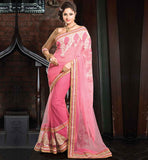 LINEN NET EMBROIDERED PARTY WEAR SAREE GOLDEN BROCADE BLOUSE PIECE