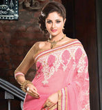 LOVELY LIGHT PINK LINEN AND NET PARTY WEAR SAREE