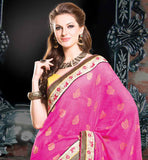 EYE-CATCHING PINK AND YELLOW DESIGNER PARTY WEAR SAREE