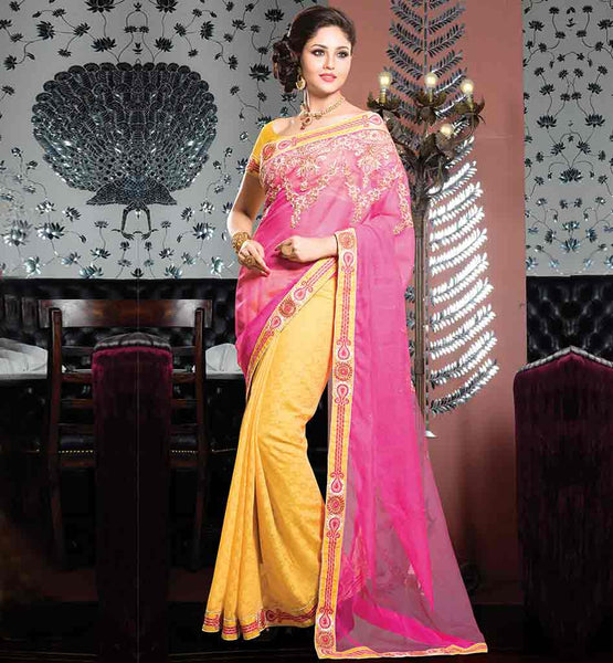 STYLISH COTTON PARTY WEAR EMBROIDERED SAREE WITH BLOUSE MATERIAL