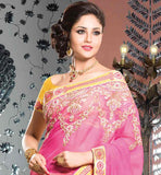 STUNNING PINK AND YELLOW COTTON PARTY WEAR SAREE
