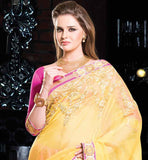 ELEGANT YELLOW AND PINK COTTON PARTY WEAR SAREE