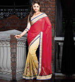STYLISH DESIGN GEORGETTE COTTON SAREE WITH BROCADE BLOUSE MATERIAL
