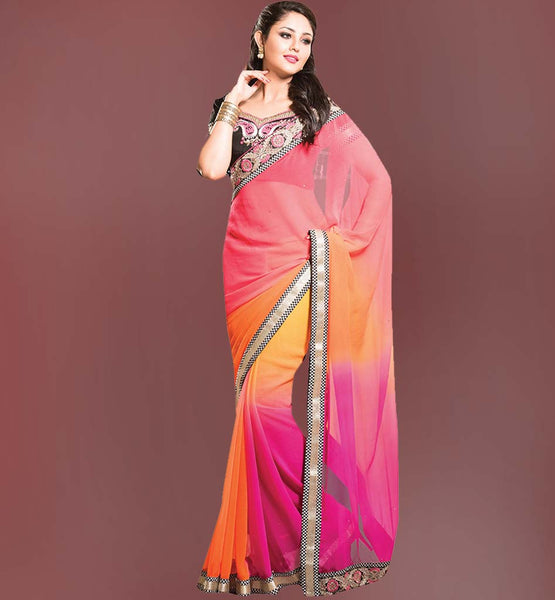 LOVELY SPRAY CHIFFON WELL SHADED DESIGN SAREE & EMBROIDERED BLOUSE