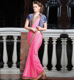 CREATIVE STYLE GEORGETTE PARTY WEAR SAREE & WELL DESIGNED BLOUSE