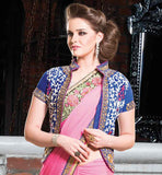 PINK GEORGETTE PARTY WEAR SAREE WITH BLUE VELVET BLOUSE