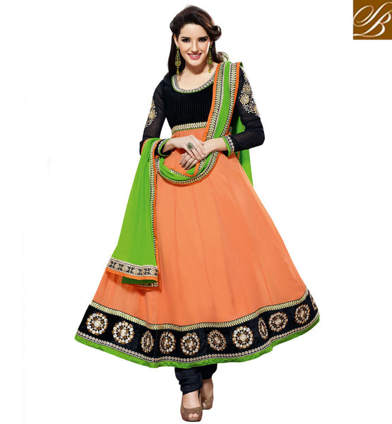 ORANGE GEORGETTE ANARKALI SALWAR SUIT RTBR1405