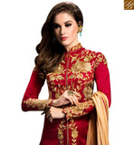 BROUGHT TO YOU BY STYLISH BAZAAR STUNNING FLORAL RED DESIGNER SALWAR KAMEEZ GLZR1405