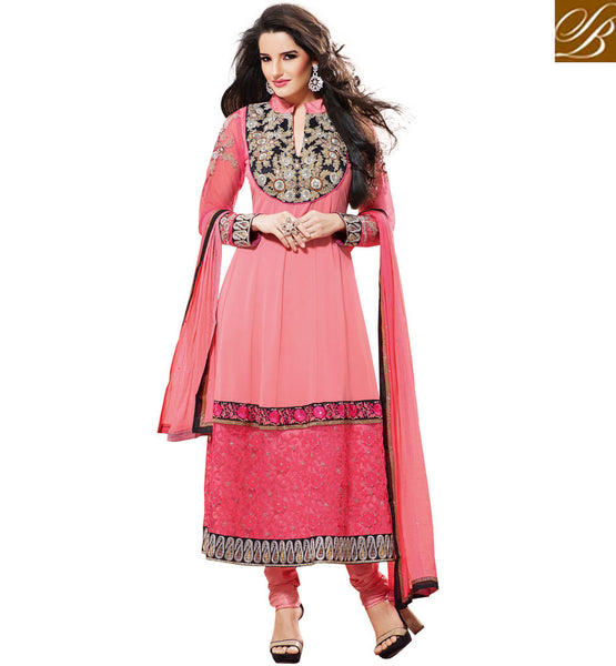 PEACH GEORGETTE ANARKALI SALWAR SUIT RTBR1408