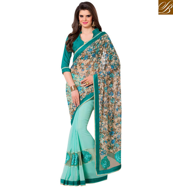 STYLISH BAZAAR ELEGANT DESIGNER SKY BLUE COLORED GEORGETTE NET PRINTED SAREE RTANT140