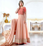 EVER STYLISH FLOOR LENGTH PARTY WEAR SALWAR SUIT GEORGETTE KAMEEZ DIVIDED INTO TWO PORTIONS SHORT BODICE AND LONG SKIRT THAT GIVES IT A GOWN STYLE LOOK