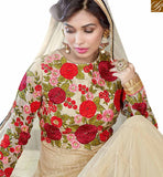 A STYLISH BAZAAR PRESENTATION PLEASING BEIGE COLOUR FLORAL EMBROIDERED ANARKALI DRESS WITH FULL SLEEVES VDSHZ14115