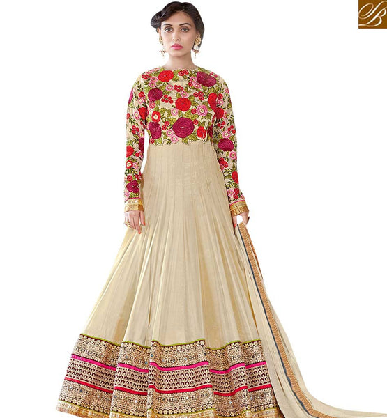 STYLISH BAZAAR PLEASING BEIGE COLOUR FLORAL EMBROIDERED ANARKALI DRESS WITH FULL SLEEVES VDSHZ14115