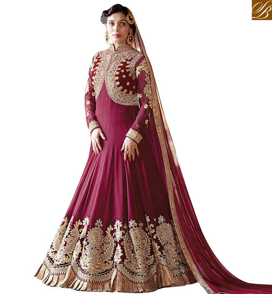 STYLISH BAZAAR FASHIONABLE MAGENTA COLOUR HEAVY EMBELISHED ANARKALI SUIT WITH JACKET STYLE VDSHZ14116