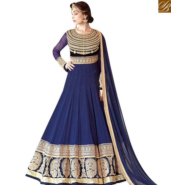 STYLISH BAZAAR GOOD LOOKING NAVY BLUE ANARKALI DRESS WITH HEAVY DISPLAYING WORK VDSHZ14117