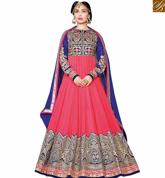 STYLISH BAZAAR PINK COLOUR DESIGNER SUIT WITH HEAVY CAPTIVATING EMBROIDERED VDSHZ14118