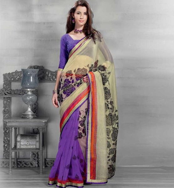 OFF WHITE & PURPLE CASUAL SARI RTYOG1412