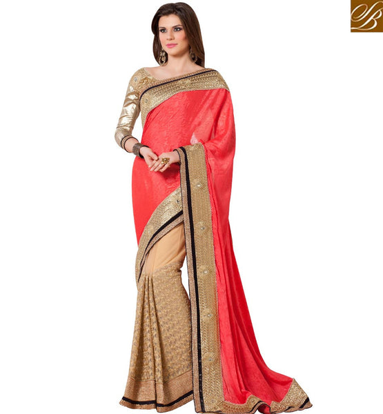 STYLISH BAZAAR EXTRAORDINARY DESIGNER PINK & CREAM COLORED HALF & HALF SAREE RTANT141