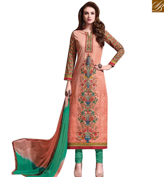 STYLISH BAZAAR BUY PEACH COTTON SATIN DESIGNER STRAIGHT CUT SALWAR KAMEEZ HAVING WELL EMBROIDERY MNJ43876