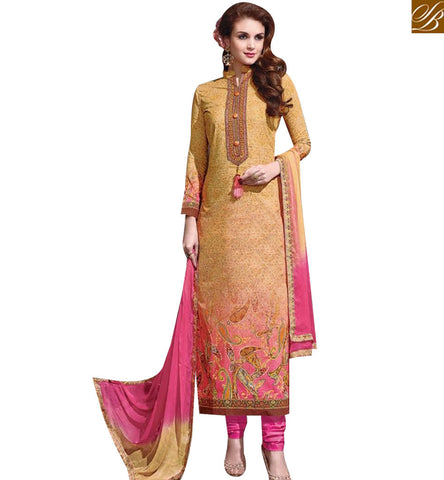STYLISH BAZAAR AMAZING MUSTERD AND PINK COTTON STRAIGHT CUT DESIGNER SALWAR KAMEEZ WITH CHINESE NECK MNJ43878
