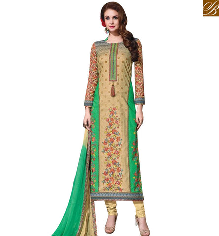 STYLISH BAZAAR PLEASING BEIGE AND GREEN COTTON STRAIGHT CUT SALWAR KAMEEZ HAVING FLORAL EMBROIDERY WORK MNJ43879