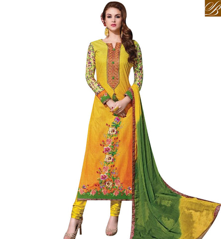 STYLISH BAZAAR ATTRACTIVE YELLOW COTTON STRAIGHT CUT SALWAR KAMEEZ HAVING FLORAL WORK WITH GREEN AND YELLOW DUPATTA MNJ43880