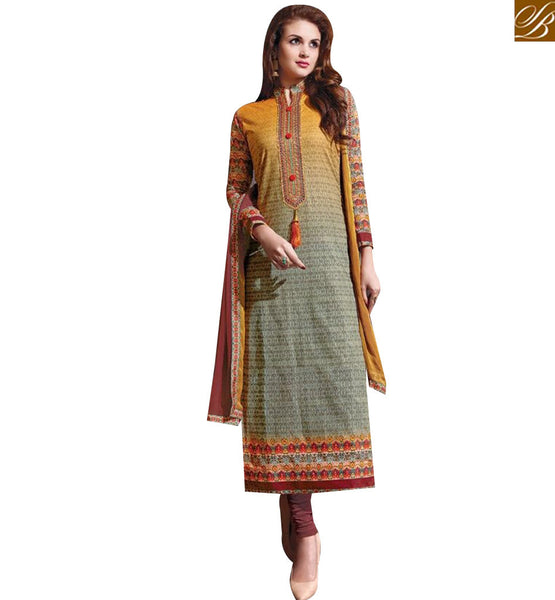 STYLISH BAZAAR SHOP MULTI COLOR COTTON STRAIGHT CUT SALWAR KAMEEZ WITH CHINESE NECK STYLE MNJ43881