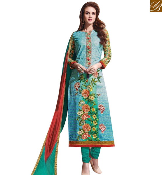 STYLISH BAZAAR ELEGANT SEA GREEN COTTON DESIGNER STRAIGHT CUT SALWAR KAMEEZ WITH FLORAL PRINT MNJ43882