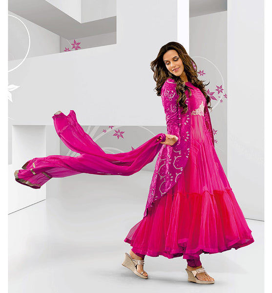 Neha Dhupia Koti Jacket style wedding wear Anarkali salwar suit by stylishbazaar