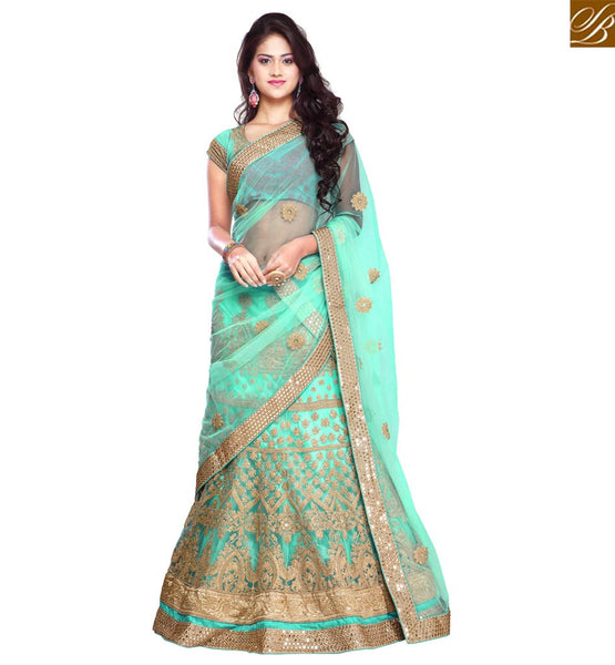FROM THE HOUSE  OF STYLISH BAZAAR RAVISHINGLY ATTRACTIVE LEHENGA SAREE DESIGN RTHOT144E