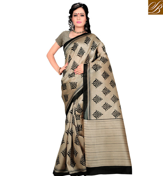 STYLISH BAZAAR INTRODUCES STUNNING IVORY COLOR LEAF DESIGN PRINT SAREE AND BLOUSE RTVAN14
