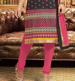 Black embroidered Kurti with Pink Churidar bottom and Chiffon Chunari
