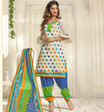 OFF WHITE CASUAL WEAR CHANDERI COTTON SALWAR KAMEEZ WITH DUPATTA VDANT7014