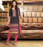 FORMAL OFFICE WEAR DRESS FOR WOMEN BLACK KURTI WITH PINK CHURIDAR