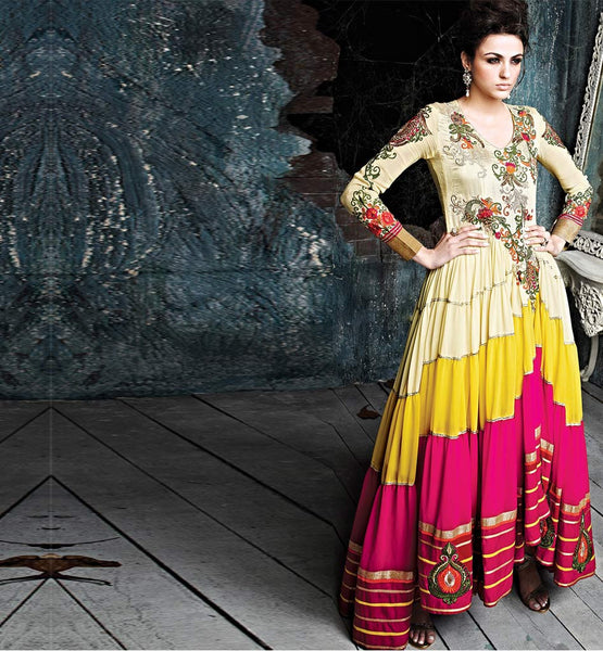 DESIGNER CREAM YELLOW & PINK ANARKALI GOWN STYLE SALWAR KAMEEZ WITH DUPATTA