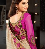 STYLISHBAZAAR SPECIAL OCCASION WEAR SAREE ONLINE SHOPPING INDIA CREAM VISCOSE