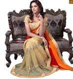 A STYLISH BAZAAR PRESENTATION ECSTATIC TRIUNE COLOURS OF RED ORANGE AND CREAM IN THE SAREE COMPLEMENTED WITH CREAM BLOUSE RTMAG15