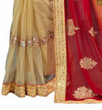 STYLISH BAZAAR ECSTATIC TRIUNE COLOURS OF RED ORANGE AND CREAM IN THE SAREE COMPLEMENTED WITH CREAM BLOUSE RTMAG15